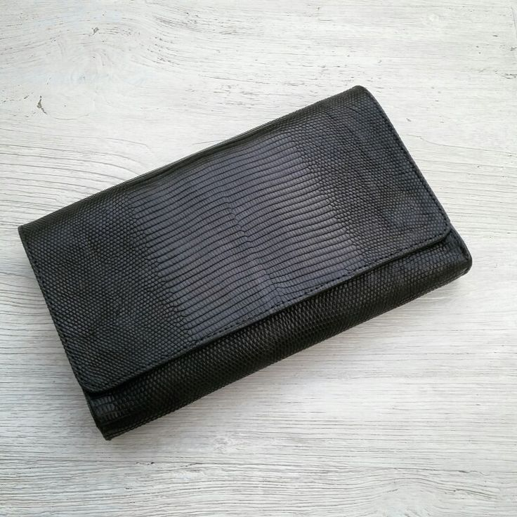Black lizard varan wallet handmade style leather