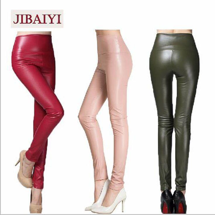 fd259d7afc 2017 Winter Skinny PU Leather Pencil Leggings Slim Shaper Pants Female  Fashion Thick High Waist Trousers
