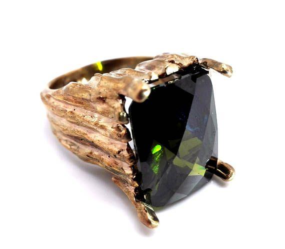 Handmade Zircon Men's Ring Olive Green Zircon Men's Ring Gold Plated Men's Ring Gemstone Men's Ring Gift For Him