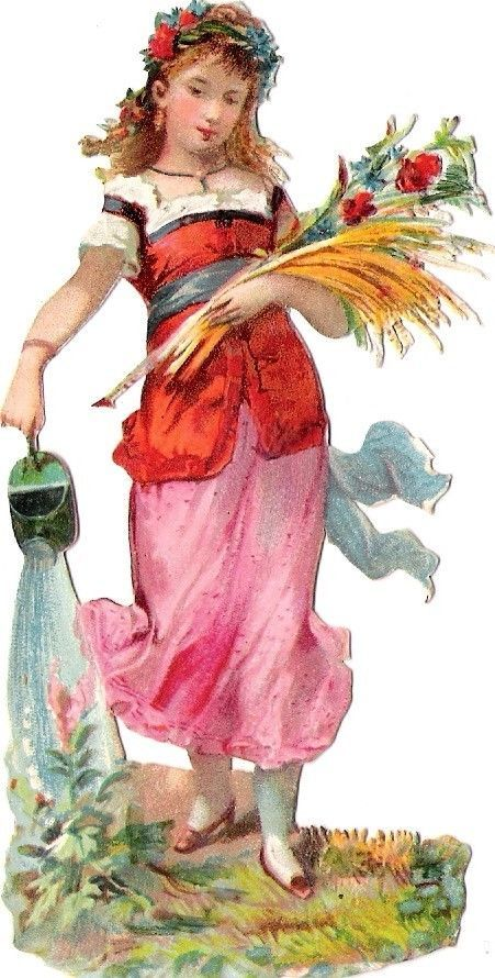 Oblaten Glanzbild scrap die cut chromo Kind child  lady Fame femme Garten garden