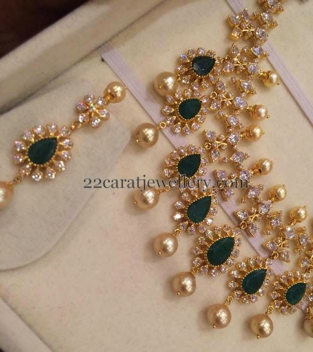 Jewellery Designs: Classic CZ Emerald Set with Earrings