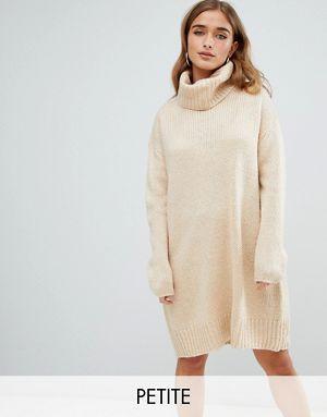 79c562676fa Бежевое платье-джемпер в стиле oversize с отворачивающимся воротником  Boohoo Petite