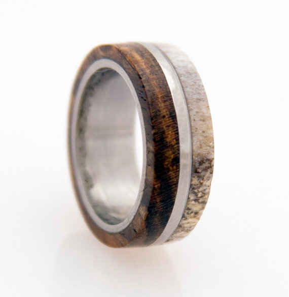 Titanium and Deer Antler Ring, $189 | 34 Unconventional Wedding Band Options For Men