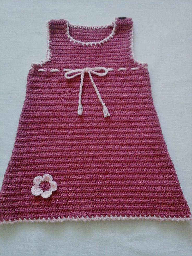 Crochet Raspberry and Pink Baby Dress With Coconut Buttons and Crochet Flower by ZsuzsaBoutique on Etsy