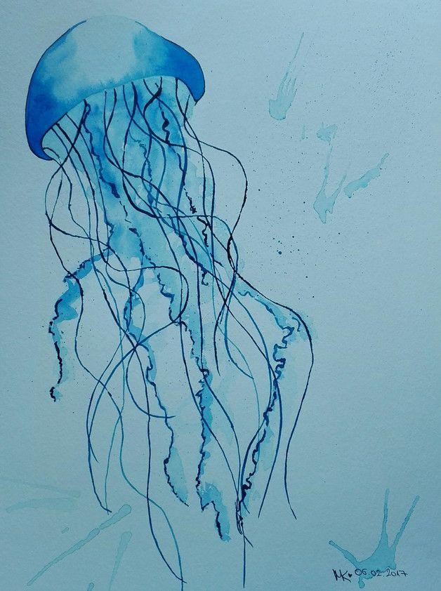 Aquarellbild einer Qualle in zarten Blautönen / watercolour picture of a jellyfish made by Martina Kaschlan via DaWanda.com