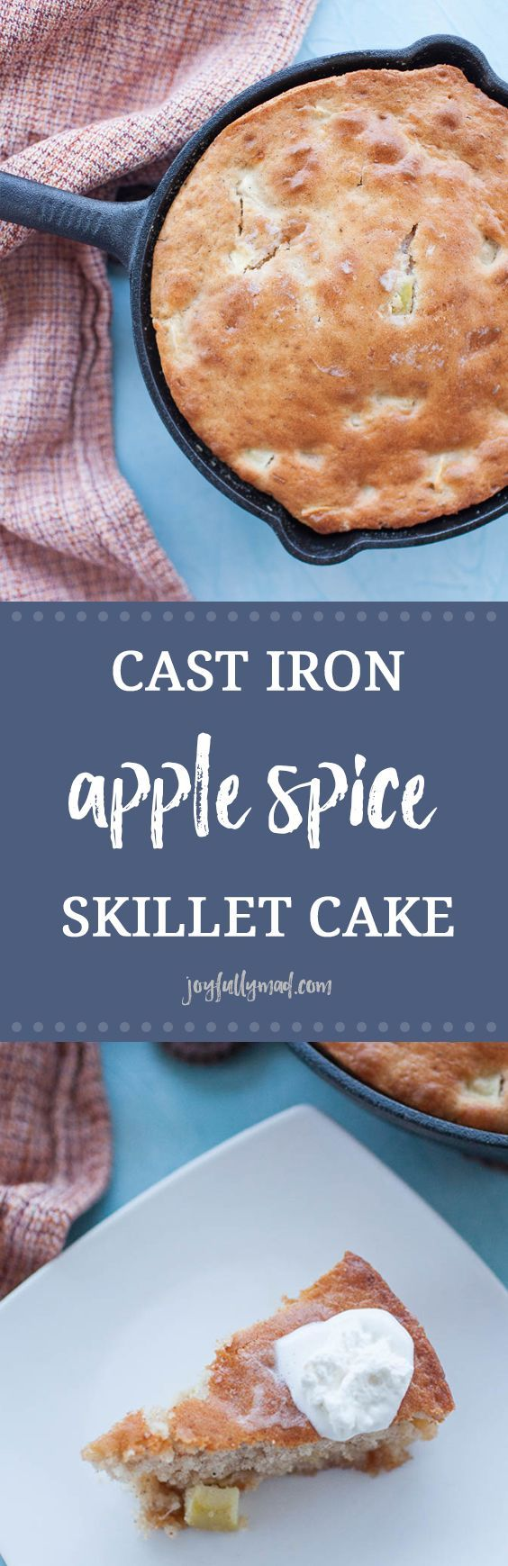 Cast Iron Apple Skillet Cake is the perfect fall dessert! It's quick and easy to make, needing only five ingredients, including a box of cake mix. This cake is baked in a cast iron skillet for an extra rustic touch and fun way to serve your dessert.  via @joyfullymad