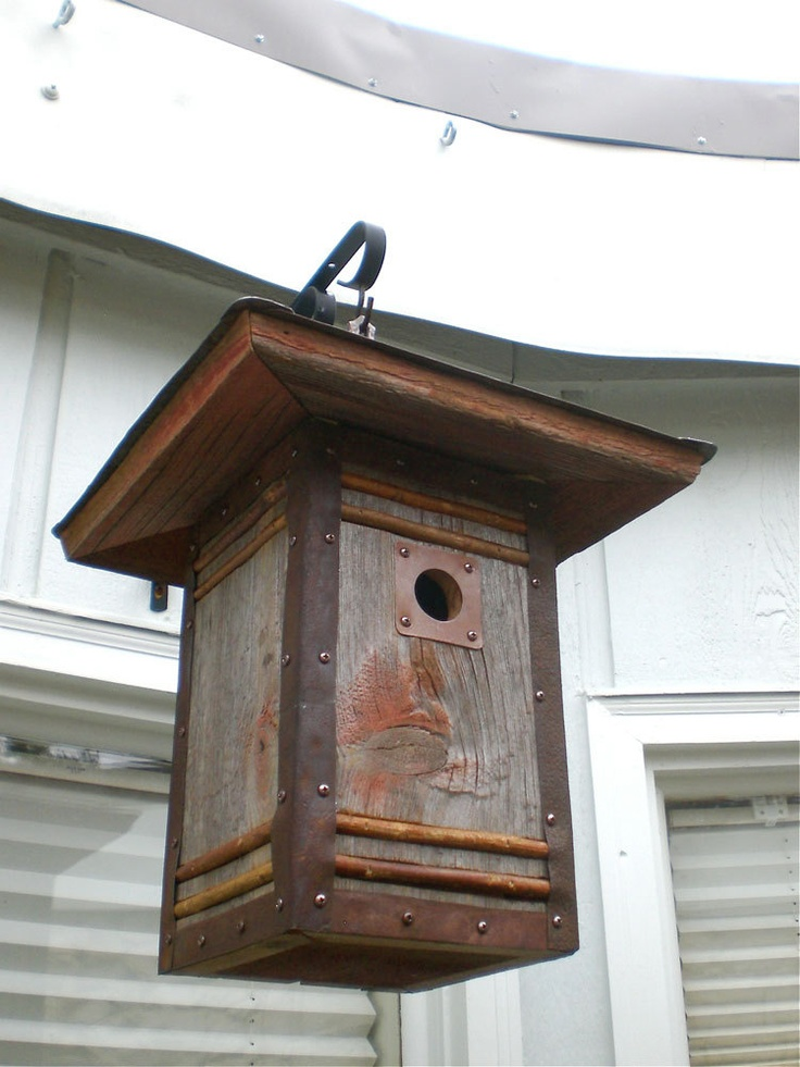 Arts and Crafts/Craftsman Style Birdhouse From Reclaimed Barn Wood and Metal Roofing: Made to Order. $170.00, via Etsy.