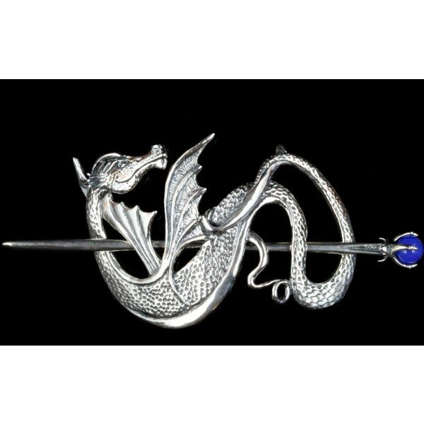 Dragon Hair Barrette Renaissance Hair Accessories Silver Wyvern Dragon... (655 AUD) ❤ liked on Polyvore featuring accessories, hair accessories, barrettes & clips, green, barrette hair clips, hair clip accessories, vintage hair accessories, claw hair clips and green hair accessories