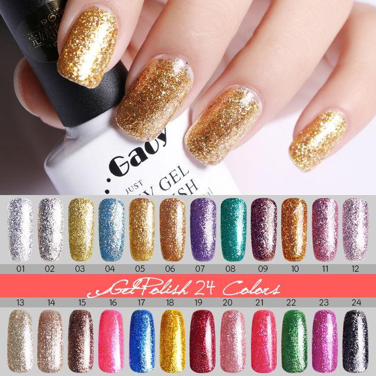 2016 Brand Quick Drying Gel Nails UV LED Lamp Nail Polish Colored Long Lasting Shining Glitter Gold Silver UV Gel Polish