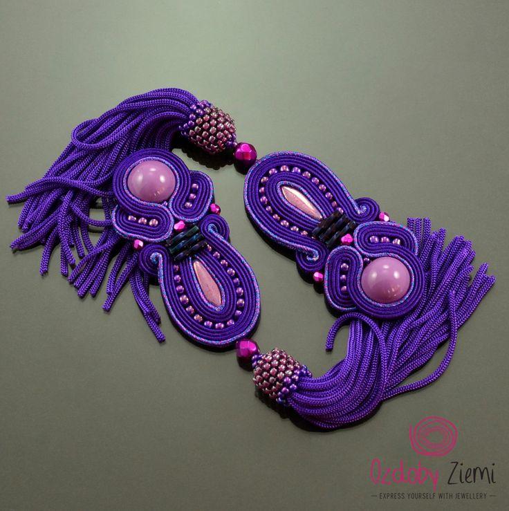 purple tassel earrings, soutache earrings, violet earrings, extra long boho earrings, purple earrings, violet fringe, statement earrings by OzdobyZiemi on Etsy
