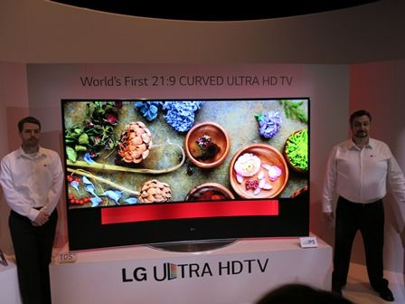 LG showed off its 105-inch curved UHD TV at #CES2014