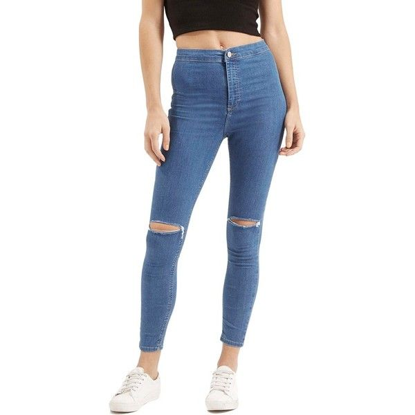 Petite Topshop 'Joni' RippedHigh Rise Skinny Jeans (£42) ❤ liked on Polyvore featuring jeans, blue, petite, blue skinny jeans, petite skinny jeans, high rise skinny jeans, high waisted ripped skinny jeans and ripped jeans