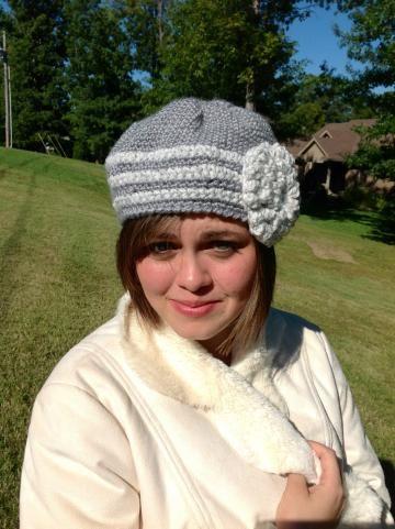 Hat, #Crochet hat, crochet beanie, hat with flower, gray hat, white #Zibbetflash #OnceUponARoll for $21.00