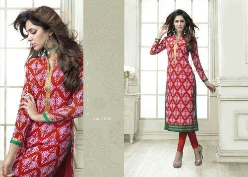 """Designer Wear Printed Georgette Kurti with American Crepe lining in Red and Purple color. Length: 45"""" and Size: L, XL."""