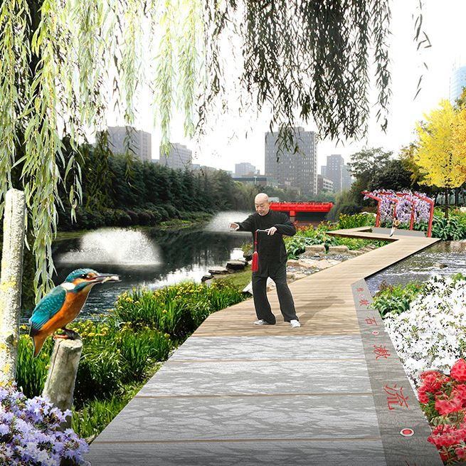 Winnend #ontwerp meervoudige opdracht voor de #'beautification' van #Lushan Road in de #newtown Hexi in #Nanjing, i.o.v. Nanjing Hexi New Town State-owned Assets Management Group Holdings Ltd. (2012) #wUrck