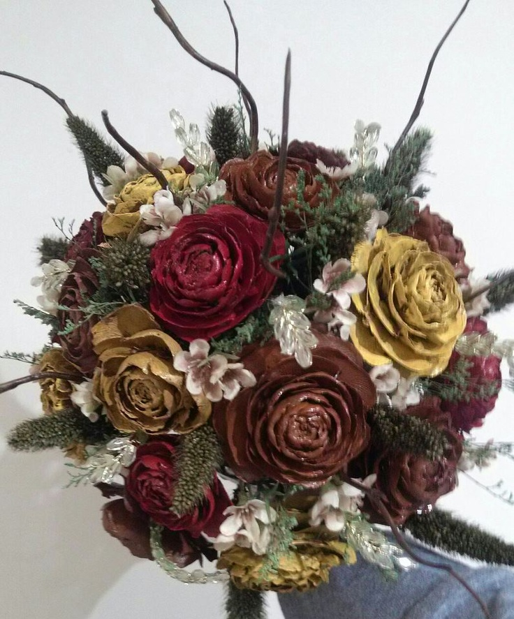 painted pinecone rose bouquet by me :)