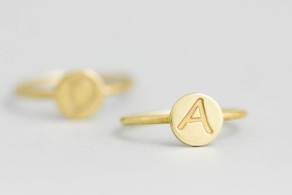 Dainty Initial Ring, Gold Initial Ring, Custom Disk Ring,  Monogram Ring, Stamped Ring, Gift for Her, Personalized Ring, Custom Ring, SR0205