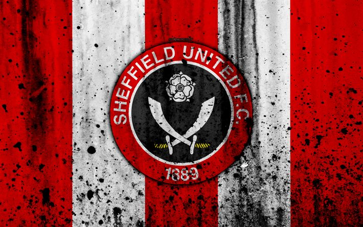 Download wallpapers 4k, FC Sheffield United, grunge, EFL Championship, art, soccer, football club, England, Sheffield United, logo, stone texture, Sheffield United FC
