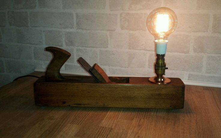 Unusual Upcycled Vintage Carpenters Plane Lamp steampunk industrial chic