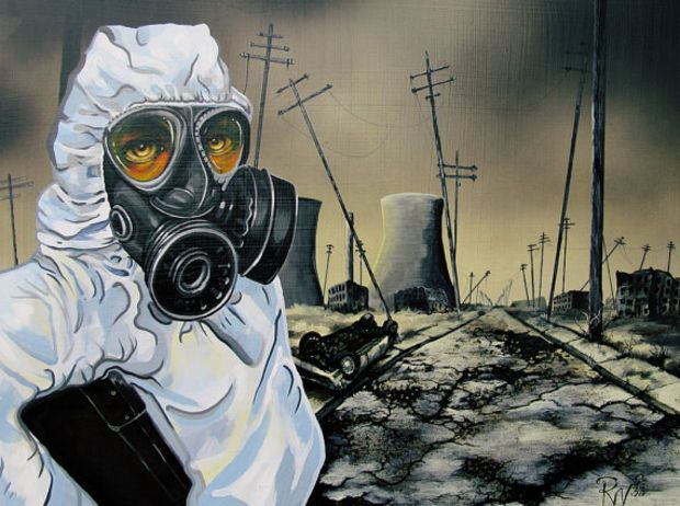 RW2 Signed Limited Edition Print Environmental Art Apocolyptic gas mask zombie apocalyptic Robert Walker end of world Surreal 2012 nature