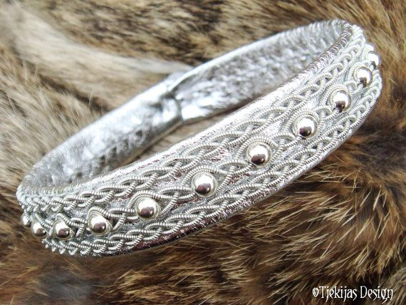 Viking Silver Leather Lapland Bracelet YDUN Swedish Sami Jewelry with Sterling Silver beads and Spun Pewter on silksoft Reindeer Leather from Tjekijas.