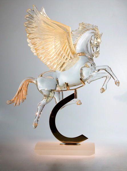 Murano  Large Pegasus Horse Sculpture 86cm #Murano