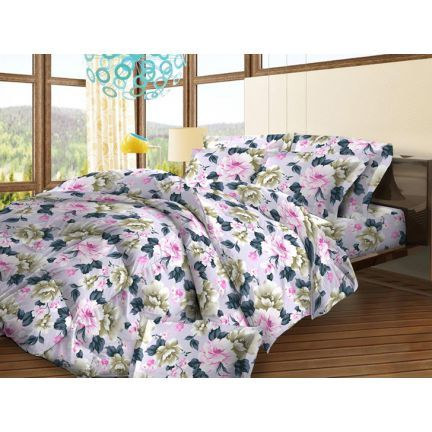 Bombay Dyeing Dew Drops Floral Pink & Brown Bed Sheet Set,Bed Sheets