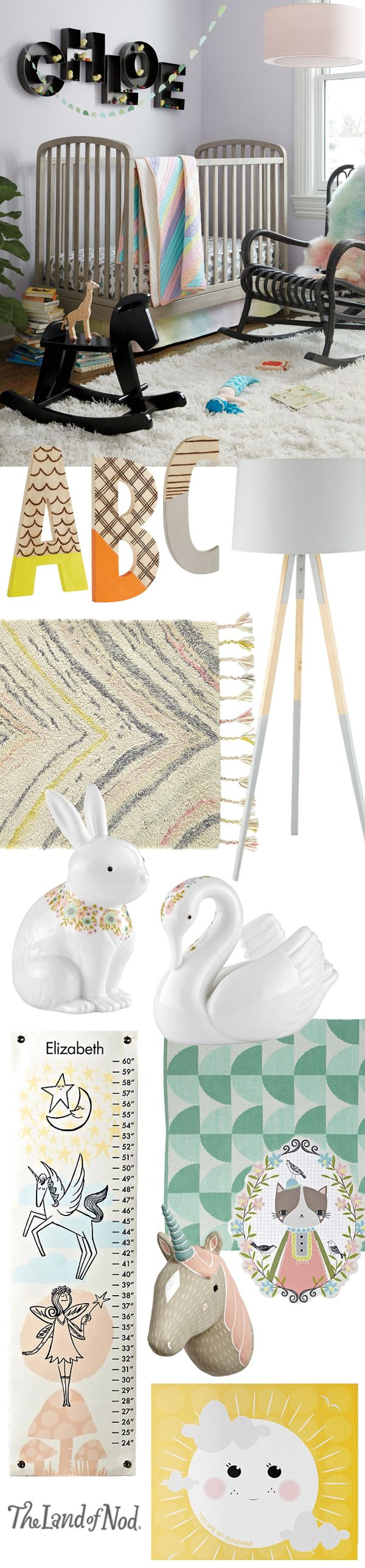 Ruby s rainbow room inspiration for kids bedroom decor at huggies - Create A Stylish And Cozy Nursery In No Time At All The Land Of Nod S Collection Of Wall Art Rugs And Nursery D Cor Will Help You Design A Cozy Room
