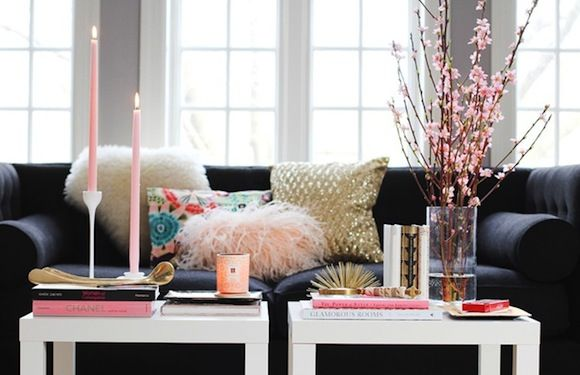 pink and gold: Bachelorette Pad, Lack Table