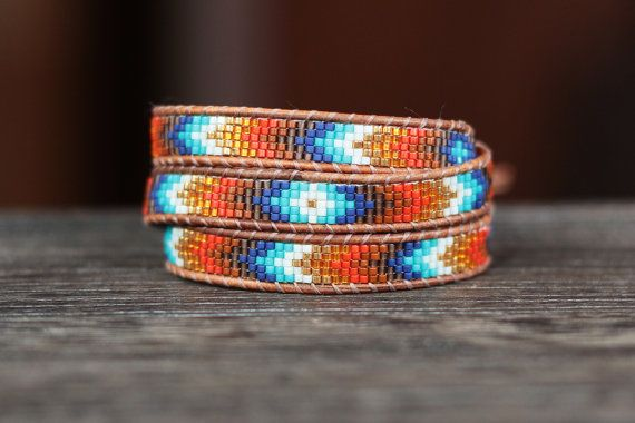 Seed Bead and Leather Chevron Wrap Bracelet  by LeiselHandmade, $45.00