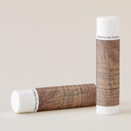 Rugged Chestnut Oak Wood Grain Look Lip Balm - oak gifts tree leaves style nature gift idea cyo