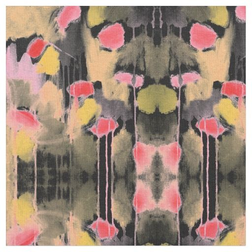 Watercolor Abstract Black Pink Yellow Olive Green by Jessica Torrant