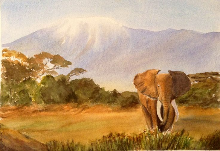 Away from the herd, Watercolour