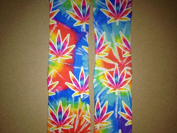 Tie Dye Weed Marijuana Socks by MJTimes420 on Etsy https://www.etsy.com/listing/211311087/tie-dye-weed-marijuana-socks