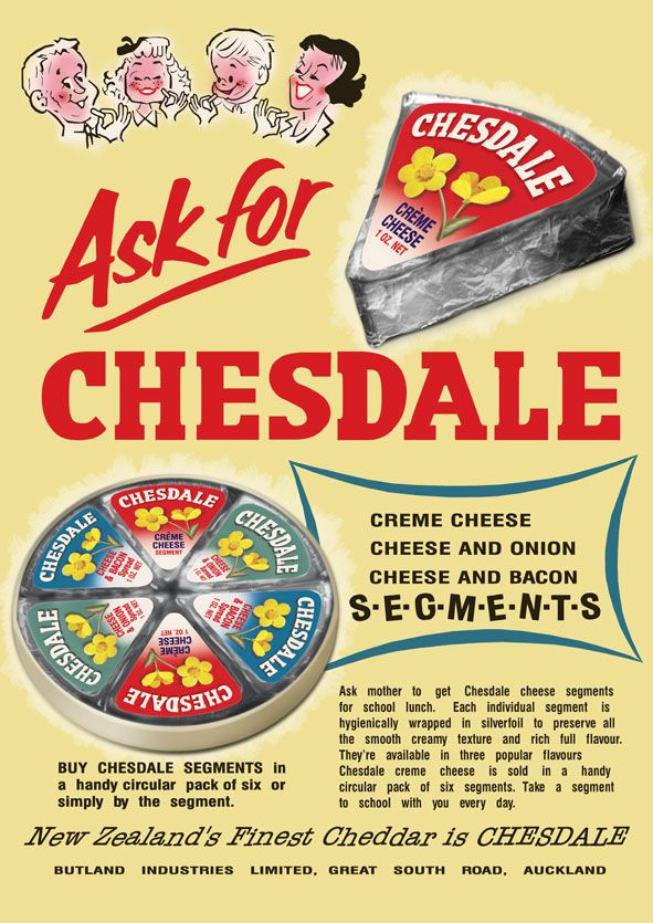 Recreated copy of a Chesdale Cheese segments ad.