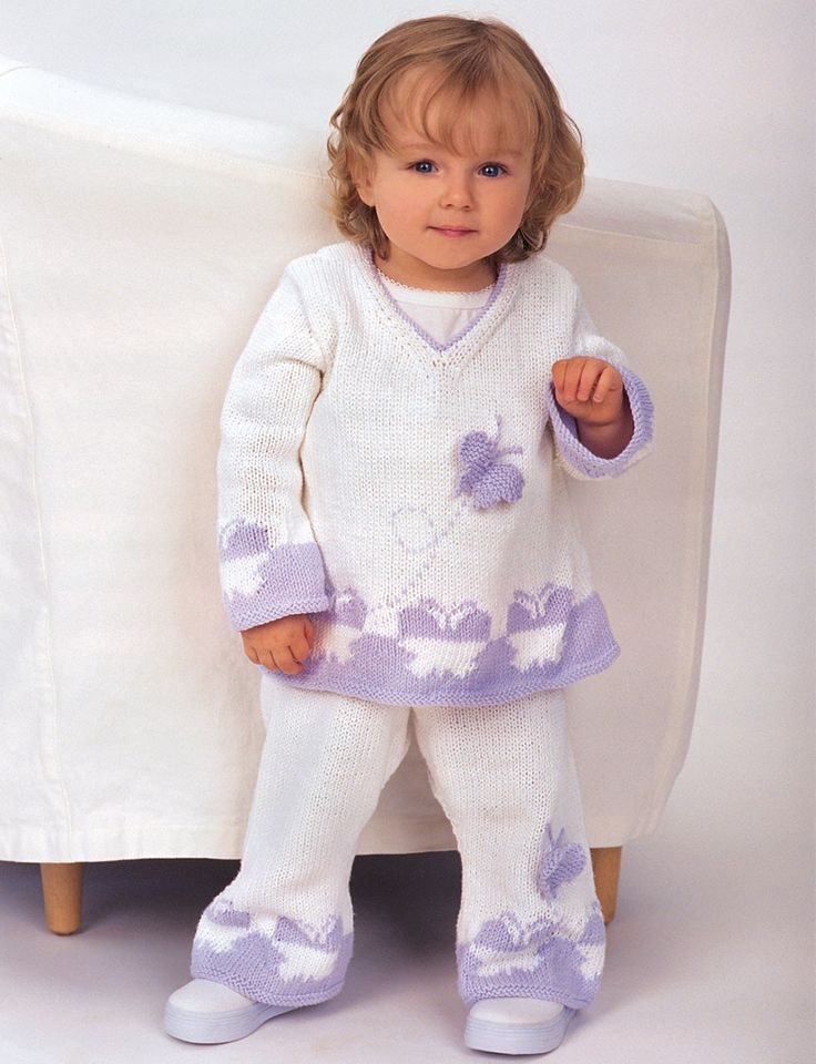 Baby Butterfly Set - Free Pattern | Yarnspirations - I like the shape of the top. Could lengthen it to a tunic or dress.