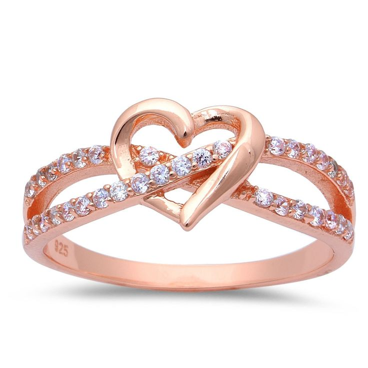 Promise Ring Interlocking crisscross infinity Rose Gold Heart Ring 925 Sterling Silver Round Clear CZ Heart Engagement Valentines Love Gift