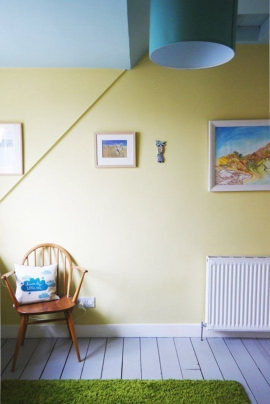 Farrow and Ball's Hound Lemon with a Duck Egg Blue from Laura Ashley on the ceiling