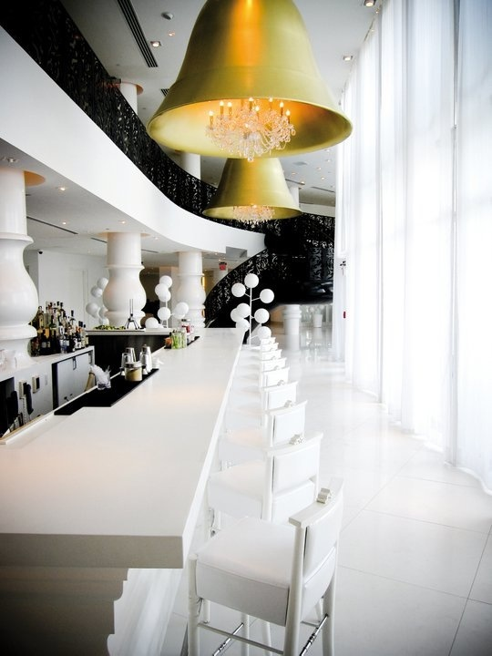 The Mondrian South Beach Designed By Interior Designer Marcel Wanders Has A Crisp Black And White Aesthetic Patterned Railings Pops Of Color