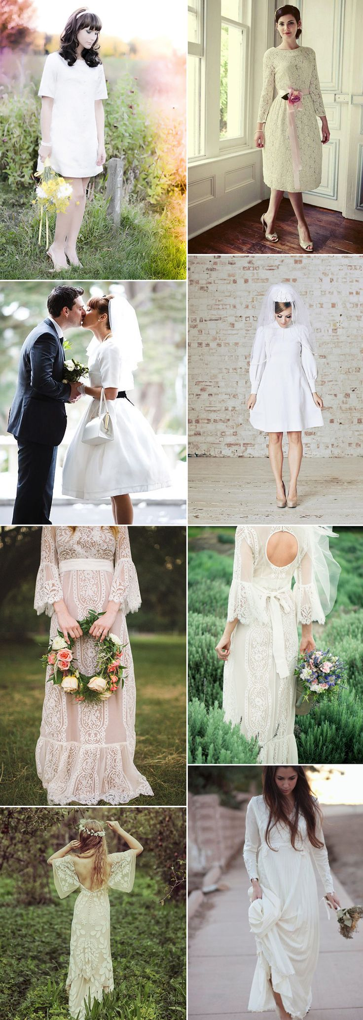 Take a look at wedding dresses perfect for a 1960s or 1970s inspired theme at GS Inspiration on Glitzy Secrets - Wedding Accessories & Vintage Style Jewellery