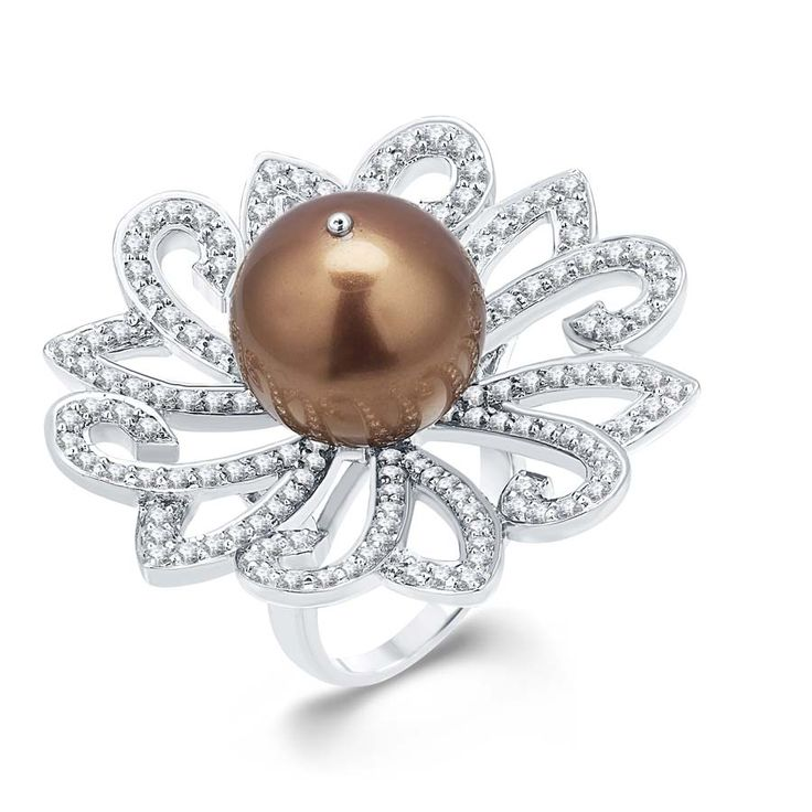 Concave Chocolate Pearl Ring  Product Code : ADR1400019 Type : Chocolate Pearl, Swarovski Color : Brown  #Rings  #SilverRingsForWomen  #SilverRingsForGirl  #BuySilverRingsOnlineIndia  #SilverRingsShopping  #SilverRingsShoppingOnline  #DesignerRings  #DesignerSilverRingsOnline  #BuyDesignerSilverRings