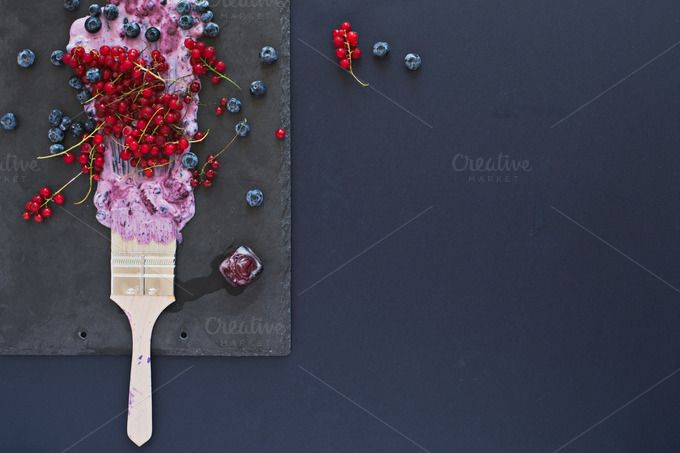 Summer fruits. Copy space, top view. by kawizen  on @creativemarket #berries #yogurt #violet #purple #painting #foodart #brush #tray #slatetray #servingtray #currants #blackberries #currant #redcurrant #topview #summer #season#seasonal #fruits #flavor #red #explosion#art #artistic #kitchentray #icecube#frozencherry #frozen #icy #frosty #copyspace