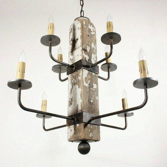 Custom Designer Iron and Wooden Post Candle Chandelier