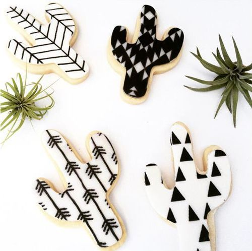 Cute black and white cactus cookies.  By @ruzecakehouse