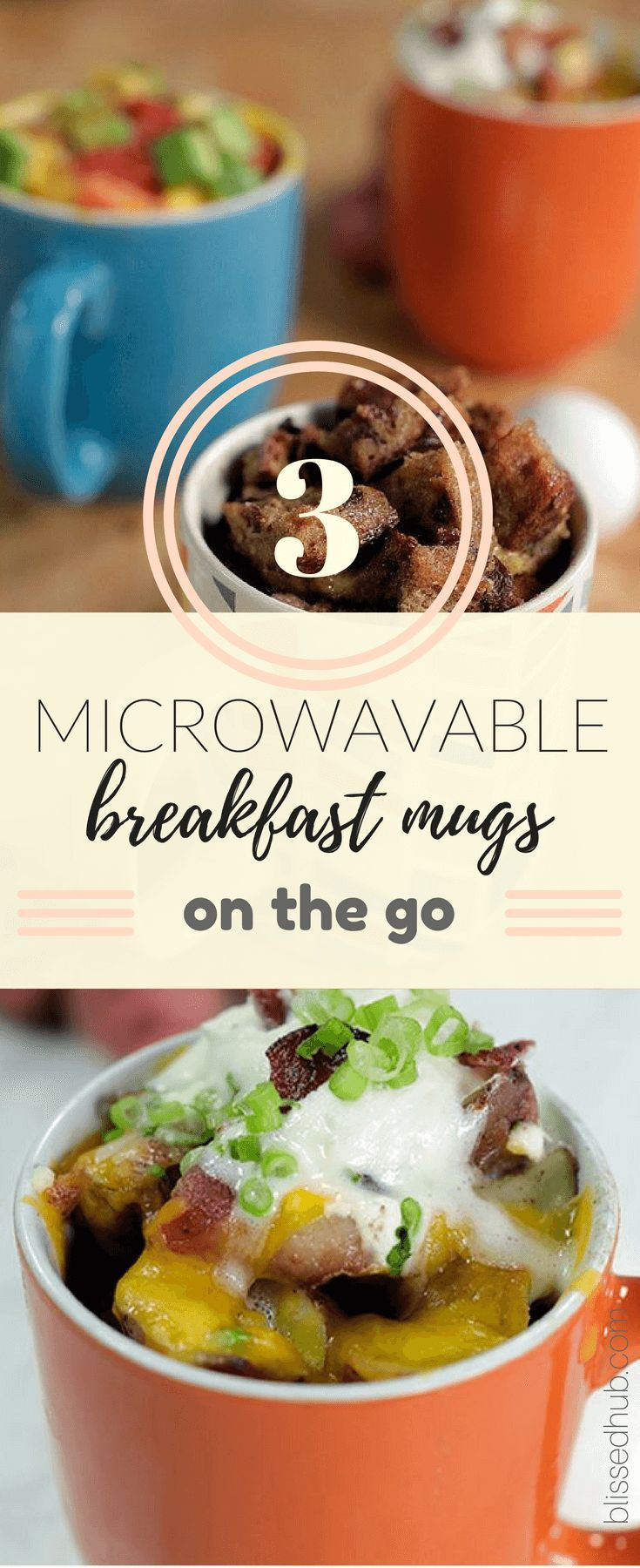 Sleep in longer with these 3 simple and tasty breakfast mugs you can eat on the go! Whether its to work or school, these recipes have got you covered!