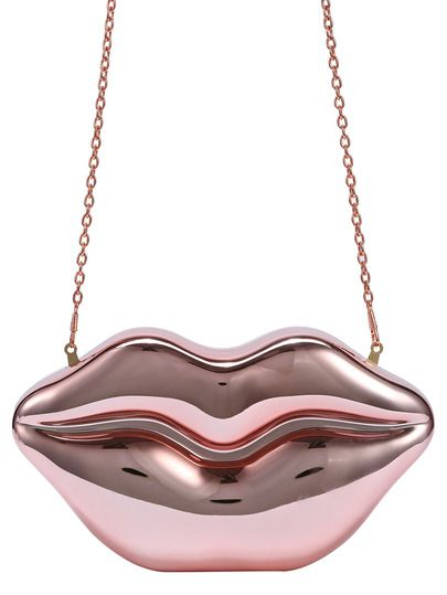 Metallic Rose Gold Lip Clutch With Chain.