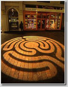 Projected labyrinth,   Cork, Ireland, 2005.  Design by Labyrinthos. || How? Figure it out and it could be done outside, maybe during easter vigil or during the down time of an overnight retreat or, even if it was on a wall it could still be traced and a body movement is still used.