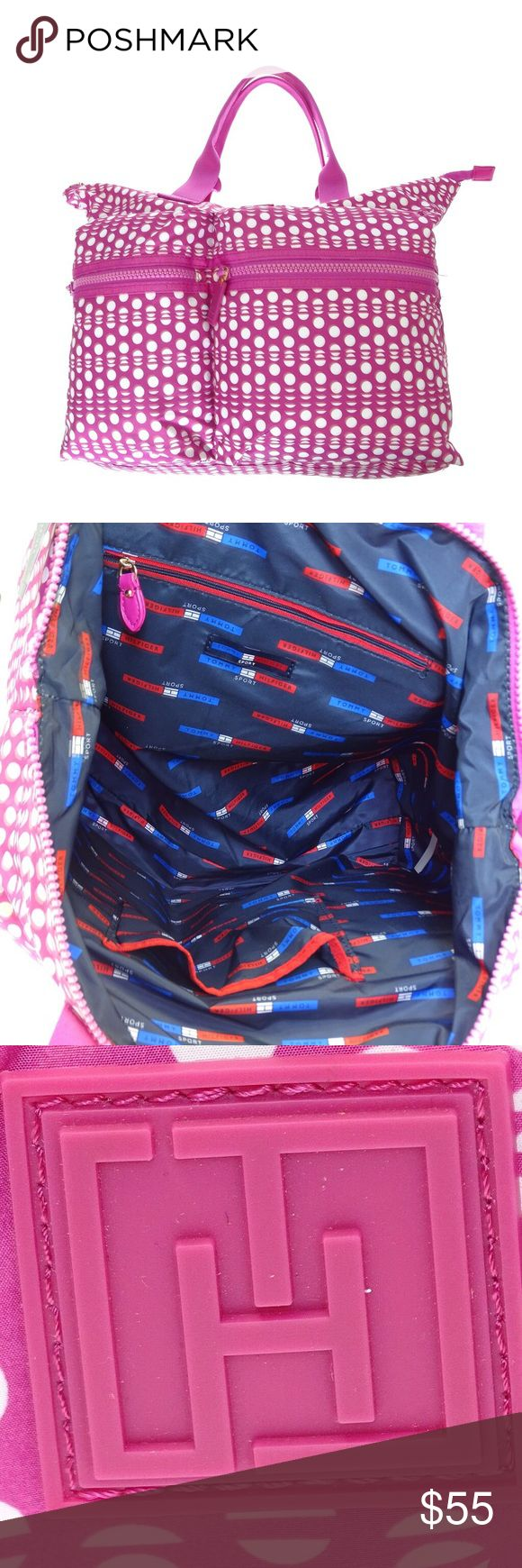 Tommy Hilfiger Polka Dot Pink Travel Gym Bag Z824. New with tags. Nylon Bag with multiple pockets. Lightweight Tommy Hilfiger Bags Totes