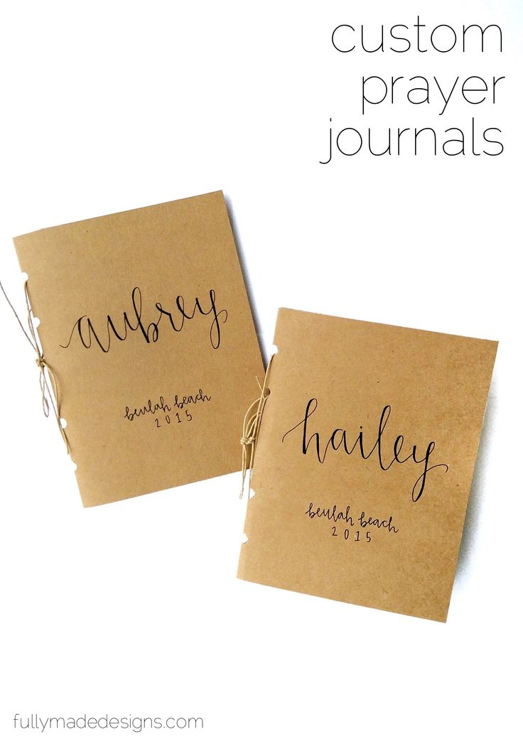 Custom Personalized Prayer Journals - Perfect for Bible Study Groups, Youth Group, Baptism Present, Birthday, Bridesmaid Gifts || fullymadedesigns.com