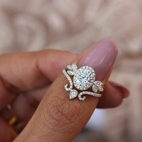 Unique victorian pear cut cz engagement rings set Dainty art deco womens wedding rings set Promise rings set for her Gift for her ring